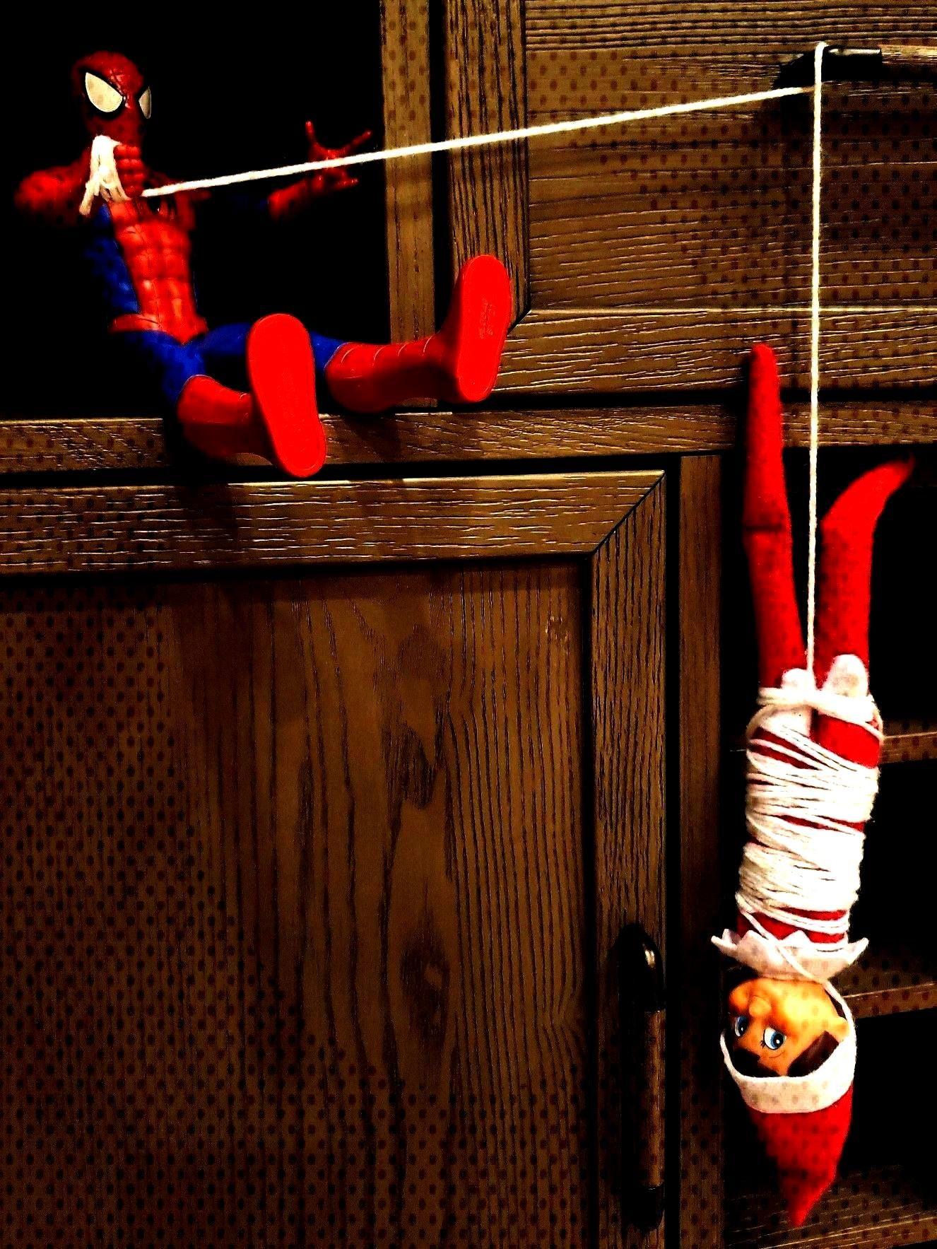 Eddie the elf on the shelf idea with Spiderman, super hero  Thoughts   Eddie the elf on the shelf i