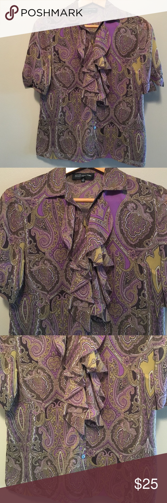 """Jones of New York 8 silk paisley ruffle blouse Beautiful and feminine Jones of New York 100% silk paisley, button down, ruffle blouse in a size 8. Dimensions taken while garment is laying flat: 16"""" across shoulders, 38"""" bust, 36"""" waist, 42"""" hips, sleeve length 10"""" and length from shoulder to bottom hem 22"""".  Front of blouse is double lined but back is not so it is slightly transparent. you may want to wear a camisole or tank underneath. Fabric care instructions dry clean only. Jones New York…"""