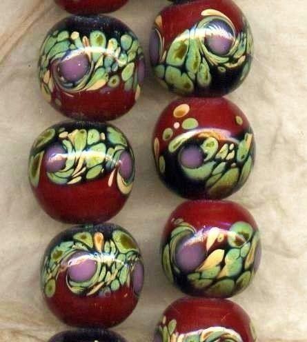 Raku beads from ghanley at Etsy.