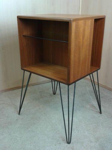 Vintage Teak G Plan Record Cabinet Bookcase Side Table Danish Hairpin Legs