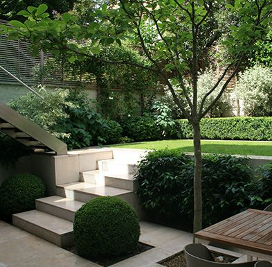 Gradina minimalista in trepte , diferente de nivel. Gradina urmabana, mica design simplu verde, pavaj gradina.