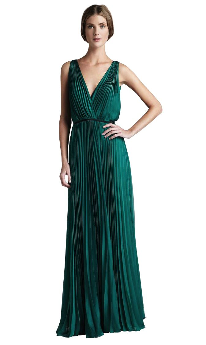 30ae3516e20 платье Halston Heritage - Изумрудное вечернее плиссированное платье Зеленые  Свадебные Платья