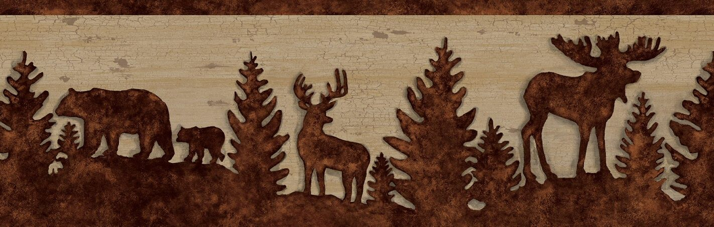 878862 Bear Moose Deer Silhouettes Wallpaper Border Projects To Try