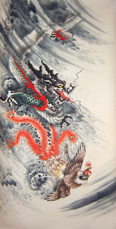 Dragon And Phoenix Legend Dragon And Phoenix Bringing Auspiciousness Chinese Dragon Art Chinese Art Painting Dragon Wallpaper Iphone
