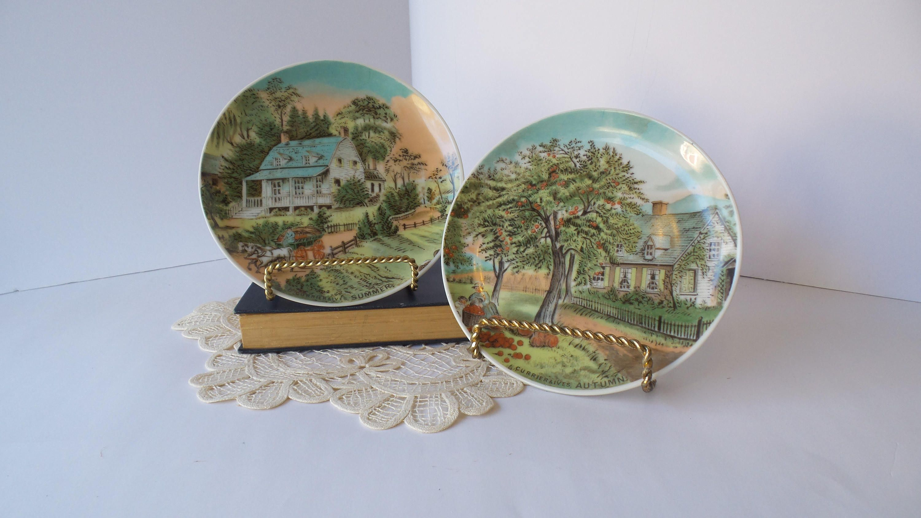 Vintage CURRIER u0026 IVES Autumn and Summer Decorative PLATES Seasons Plates Autumn Summer : autumn decorative plates - pezcame.com