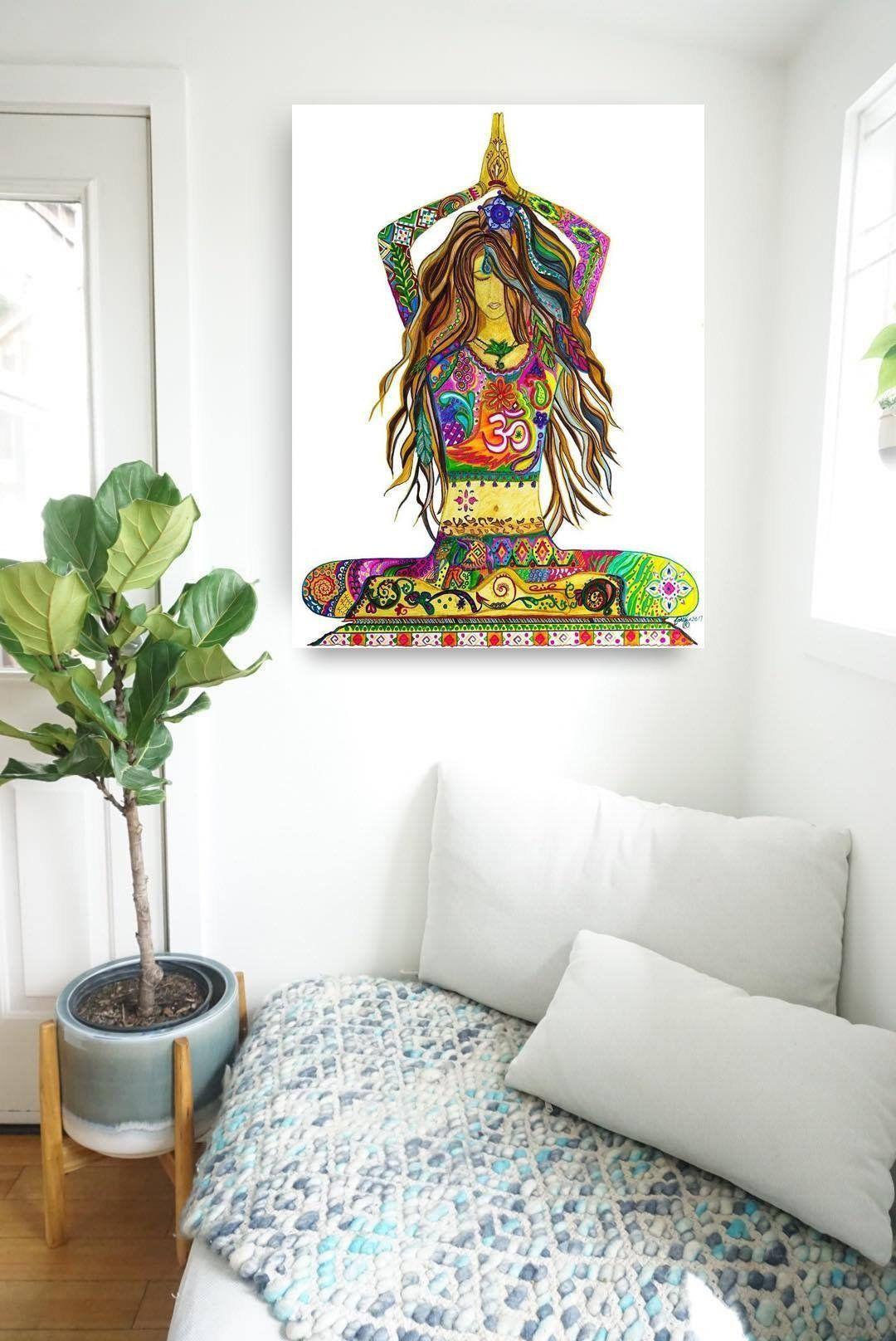 Yoga Goddess Pose Abstract Art Painting Rolled Canvas Print Bohemian Home Decor Namaste Fine Art Modern Yoga Studio Artwork Meditation Yoga Studio Decor Yoga Painting Meditation Art