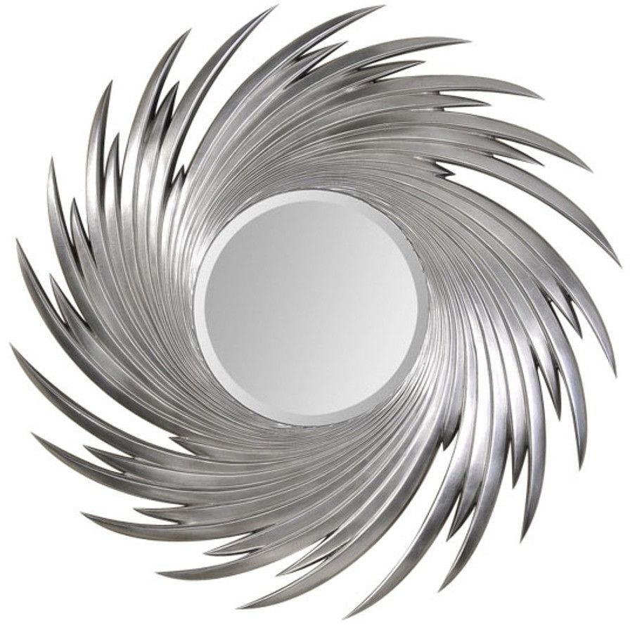 Large silver wave round wall mirror products pinterest
