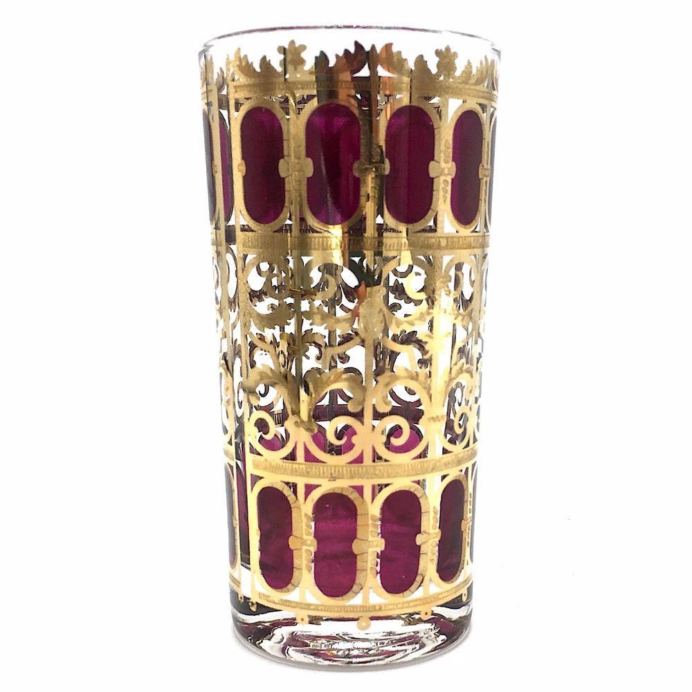One 22 Kt Gold Culver Cranberry Scroll Design Highball Glass