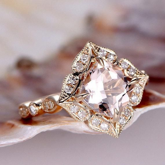 8mm Cushion Cut Morganite engagement ring, 2.3ct VVS Natural Pink Morganite Prom...,  #23ct #... #cushionengagementring