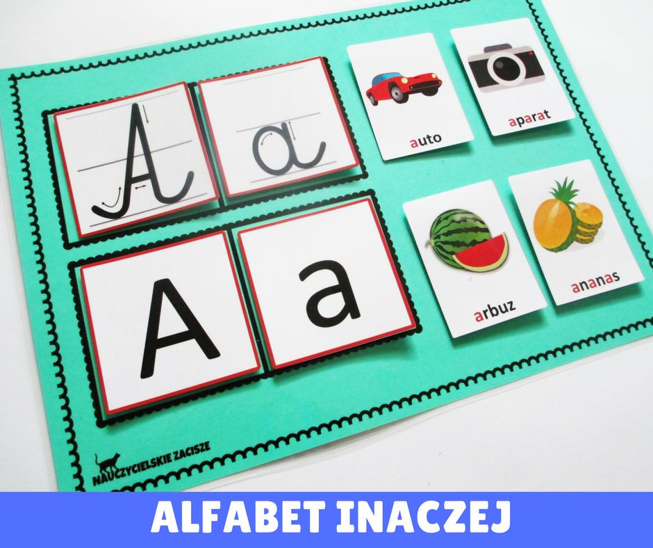 Alfabet Inaczej Osobno Każda Litera Drukowana I Pisana Obrazki Z