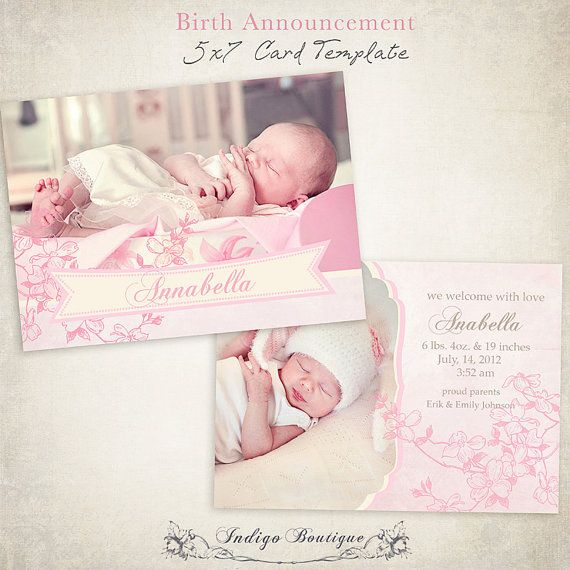 Birth Announcement Template - 7x5 Photo Card - Sweet Baby 003