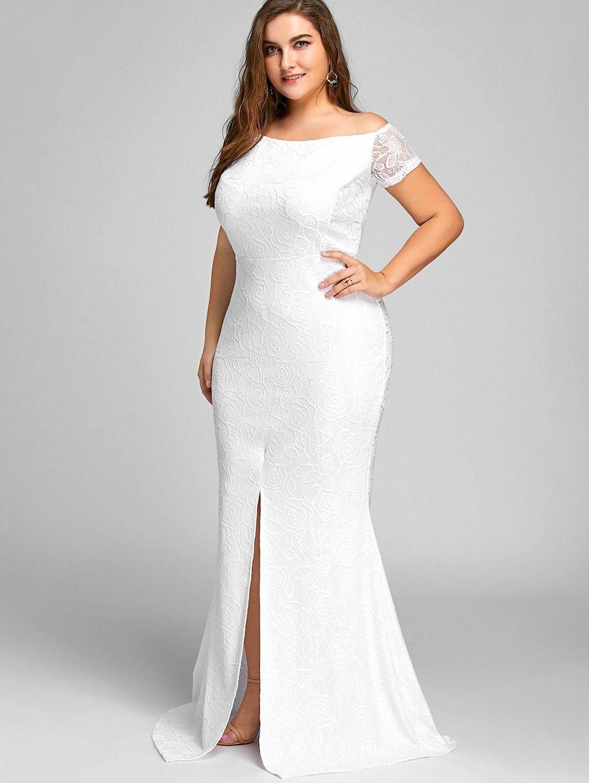 d3f62cc6b10 Off The Shoulder Lace Slit Plus Size Dress - WHITE 3XL