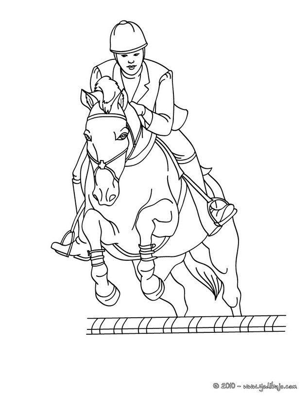 Dibujo para colorear : un caballo saltando un obstaculo | Konie ...
