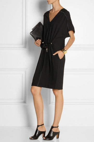 DAY BIRGER ET MIKKELSEN Classic satin-trimmed gabardine dress #women #classic #clothes #black