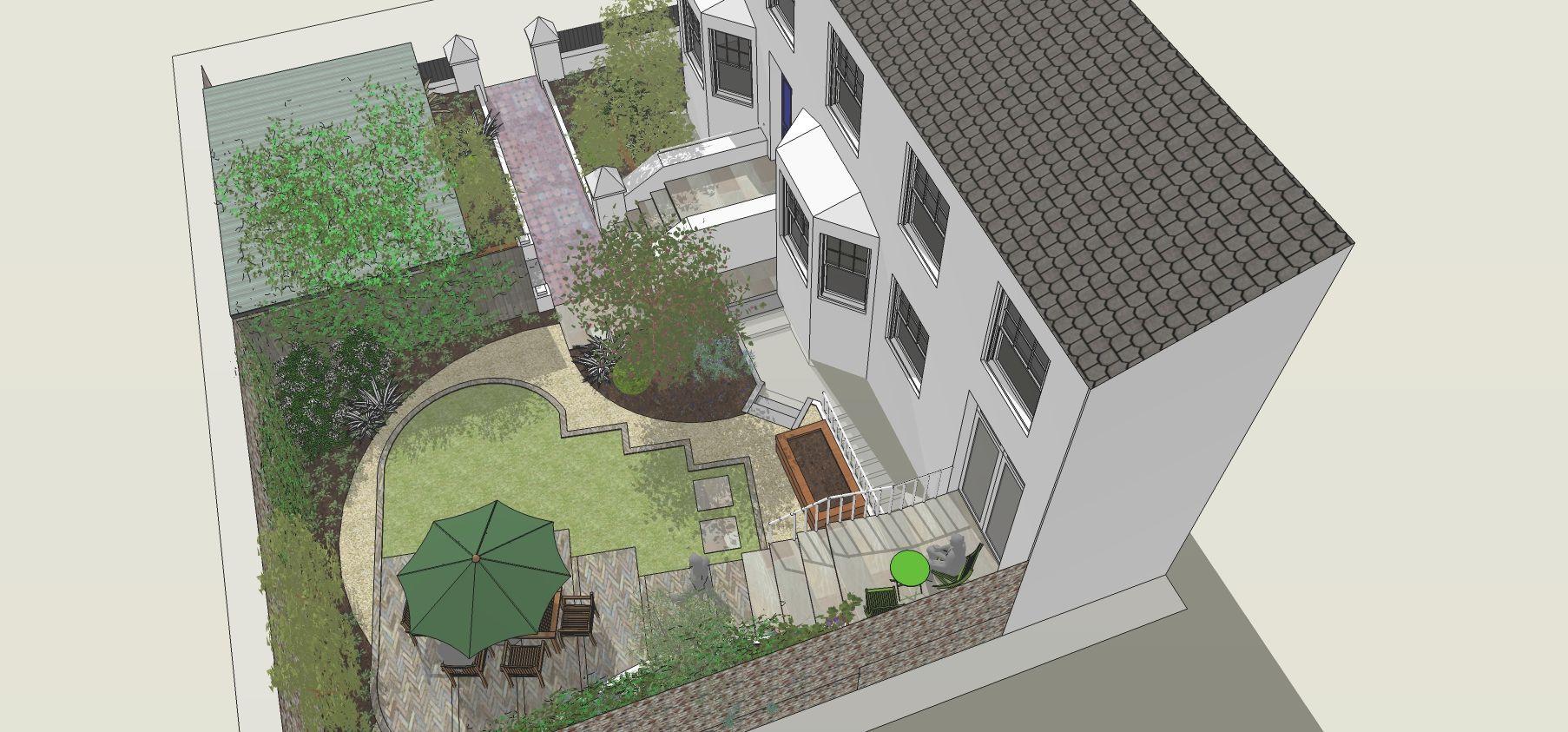Google sketchup design for garden in Kemptown, Brighton ...