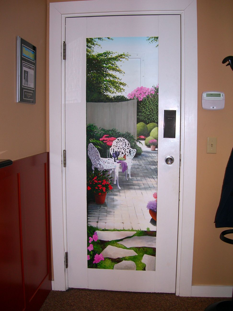 Trompe l 39 oeil door mural wall door murals pinterest for Door wall mural