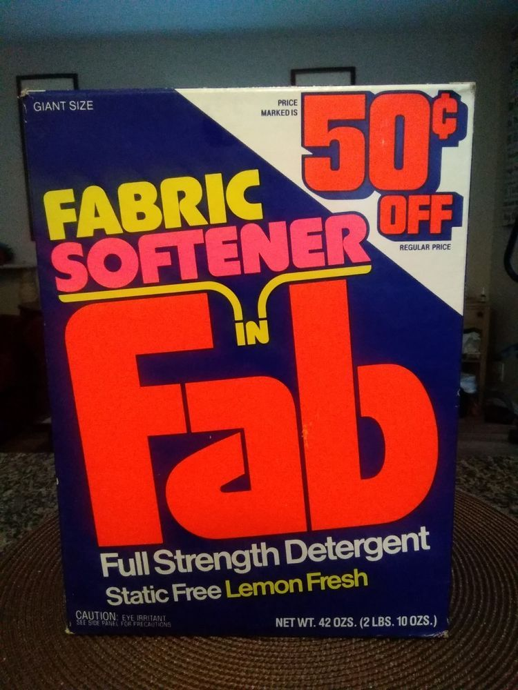 Vtg Fab Laundry Detergent Box Soap Early 1984 Store Retro Products