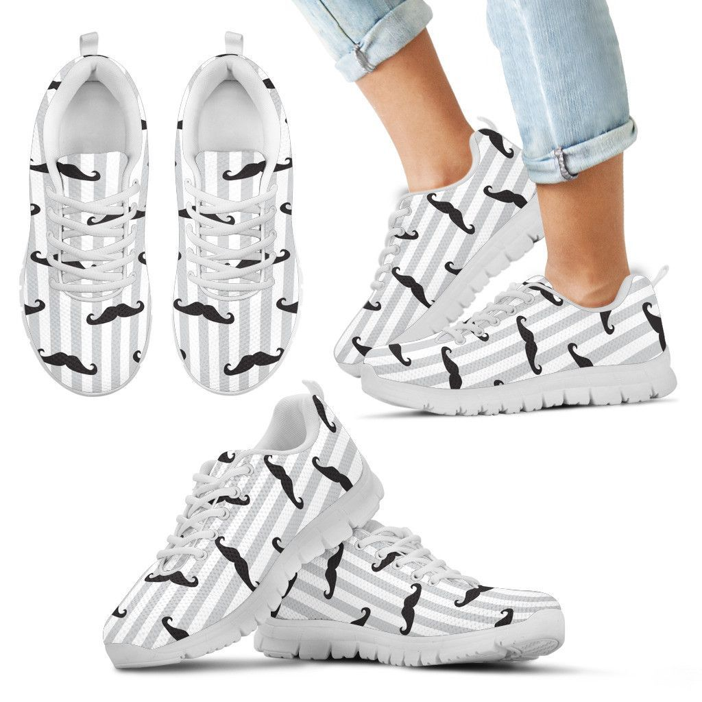 Pinstripe Moustaches Sneakers