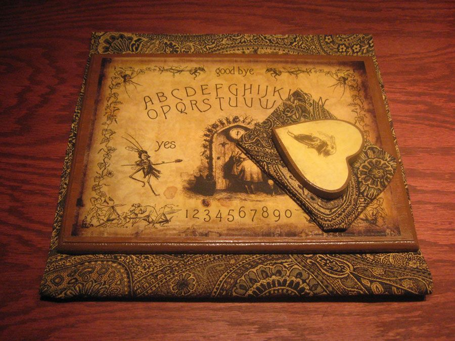 Commissioned JJ Grandville collage spirit board by Bethalynne Bajema. Available at theatticshoppetradingcompany.com #ouija #spiritboard #occult