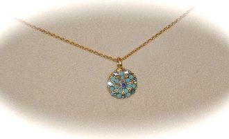 Turquoise Stone, Blue Crystals, Matt Yellow Gold Angel Pendant $56