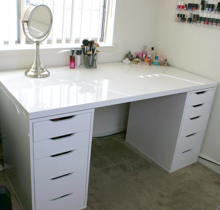 Rectangle White Wooden Makeup Desk With Double Drawers Base And Glossy Top Plus Steel Standing Mirror On Grey Rug Ikea Makeup Storage Ikea Drawers Vanity Room