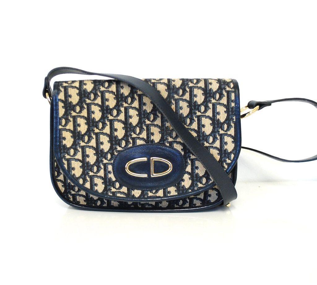 de521d0b5aee68 Vintage Christian DIOR Blue Monogram Leather Trim Shoulder Bag ...