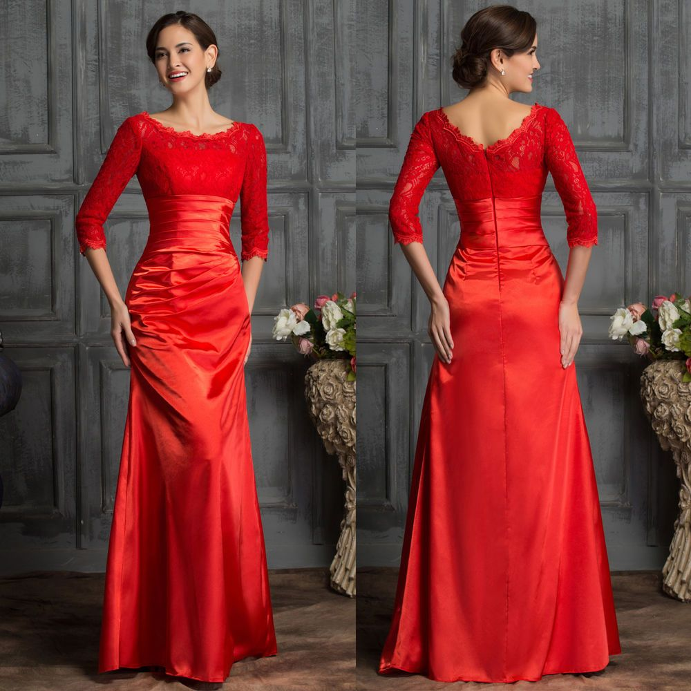 Details zu spitze rot lang ballkleid abendkleid hochzeitskleid