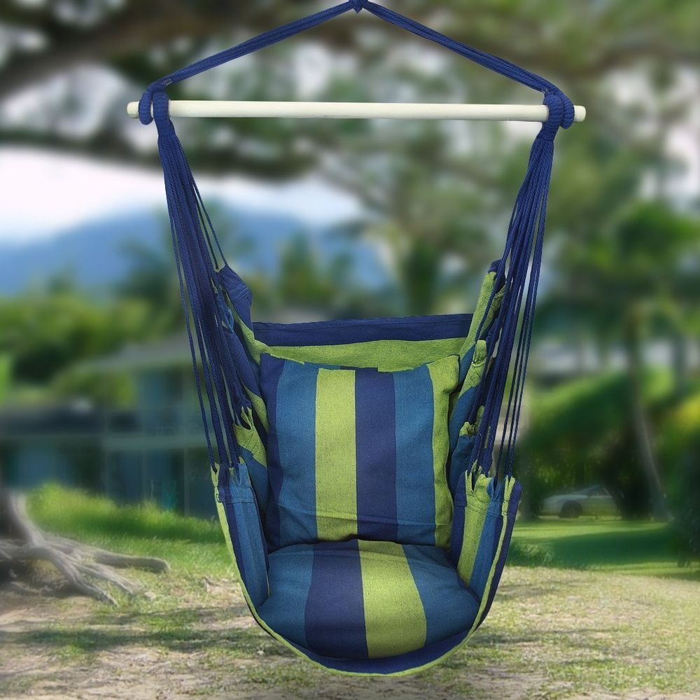 Chair hanging rope swing hammock porch outdoor patio seat