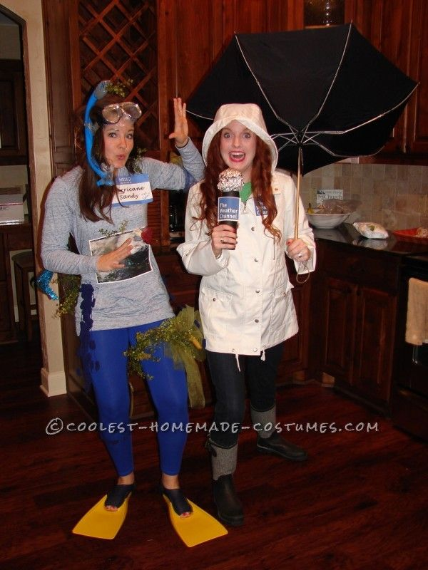 hurricane sandy and a weather channel reporter couple halloween costume - Meteorologist Halloween Costume