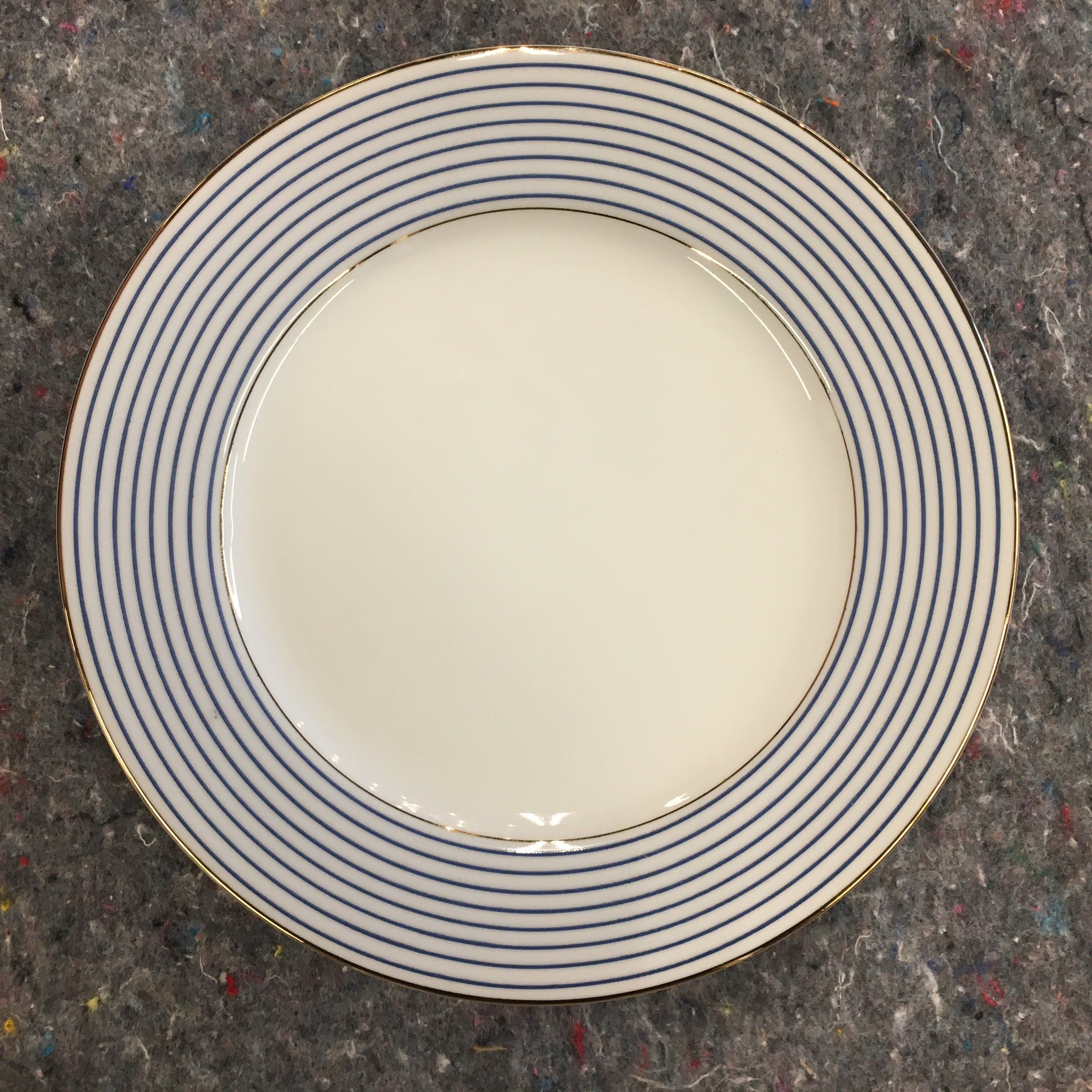 "Pottery Barn Plates Discontinued: Pottery Barn ""Blue Striped Rim"" New Traditions Salad Plate"