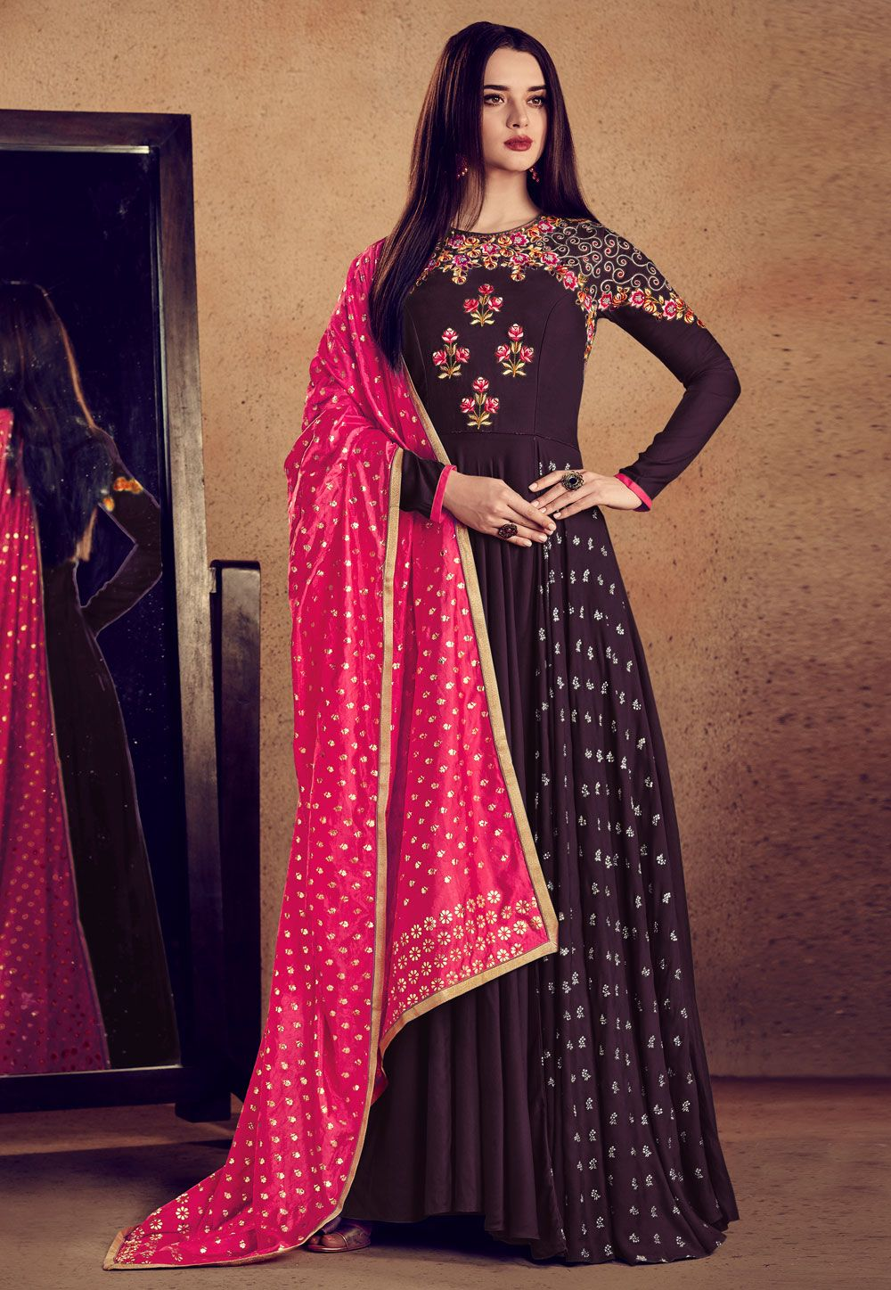 1e0b1746bd00 Buy Purple Rayon Readymade Abaya Style Anarkali Suit 163347 online at  lowest price from huge collection of salwar kameez at Indianclothstore.com.