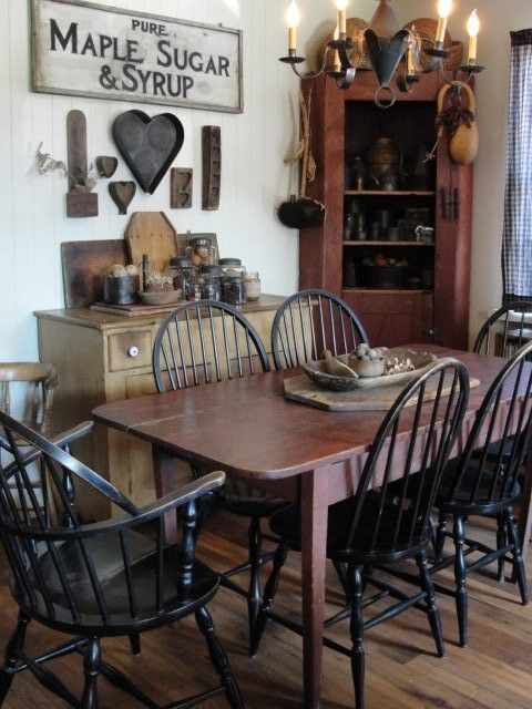 Great kitchen dining room ideas love the maple syrup sign for Primitive dining room ideas