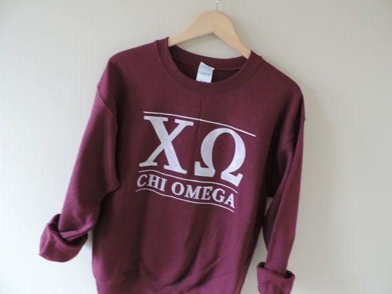 New Chi Omega Maroon Stripe Crewneck Sweatshirt // Size S-3XL // You Pick Color Ri1ueV