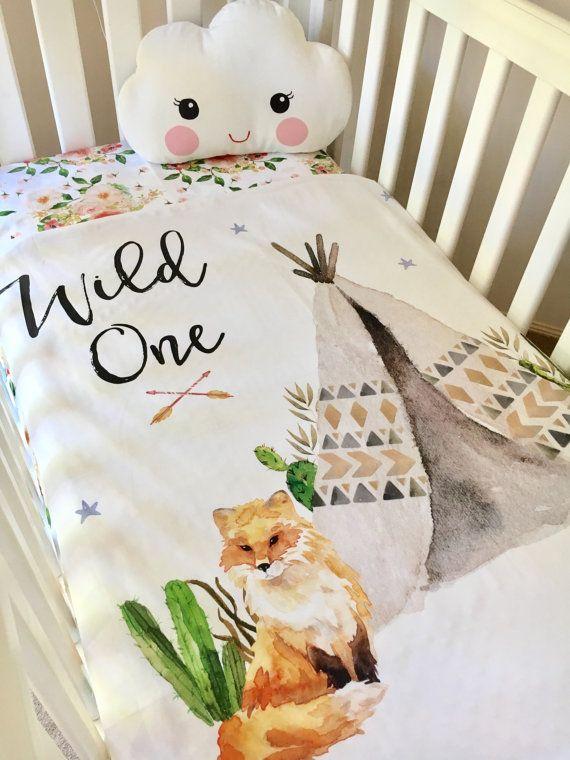 Baby cot crib quilt blanket wild one baby boy cots for Wild bedding