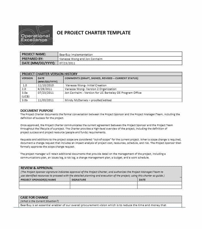 Project Charter Template Excel Awesome 40 Project Charter