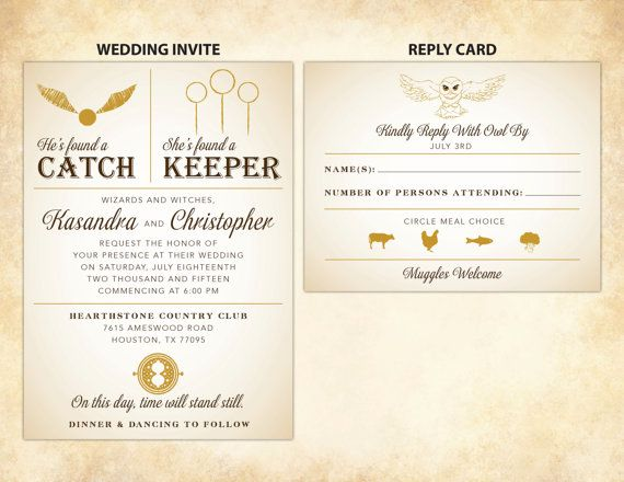 Harry Potter Wedding Invitation DIY Printable wedding