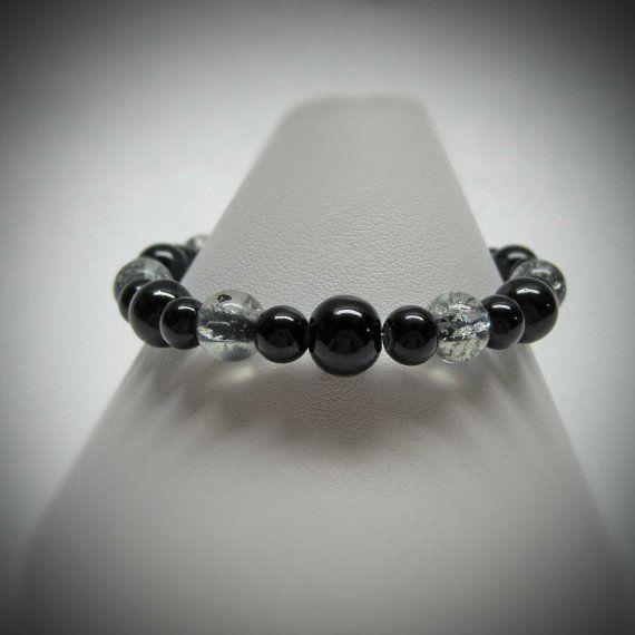 Black Stretch Bracelet by LadyBirdJewelry on Etsy, $16.00