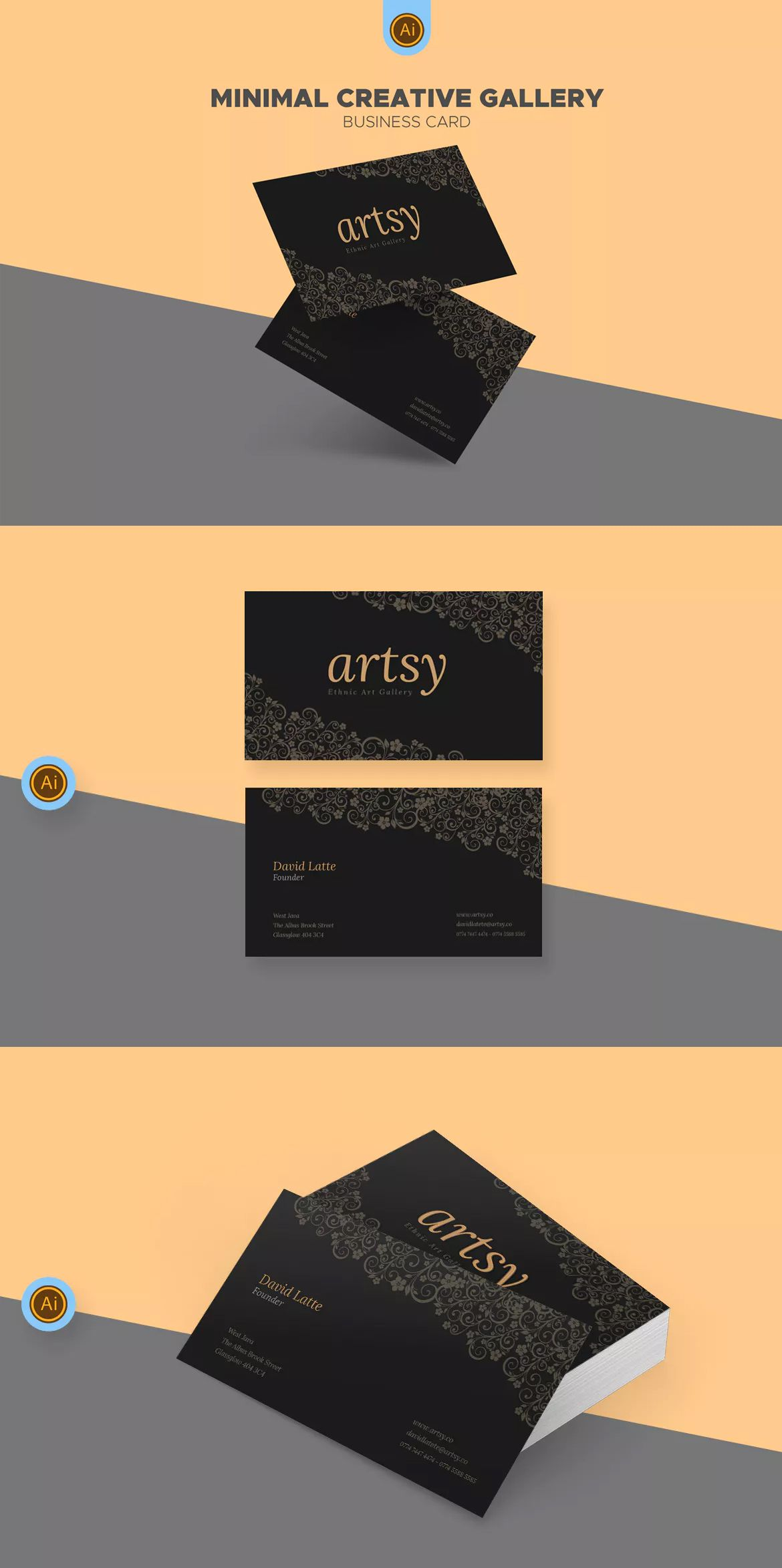 Art gallery shop business card template ai eps business card art gallery shop business card template ai eps wajeb Image collections