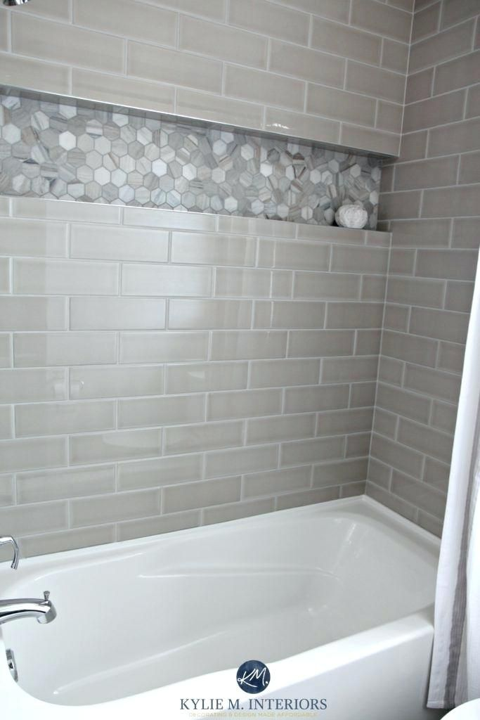 Shower Niche Lowes Bathroom With Bathtub And Gray Subway Tile Shower Surround With Niche Or Alcove In Small Bathroom Remodel Bathrooms Remodel Shower Surround