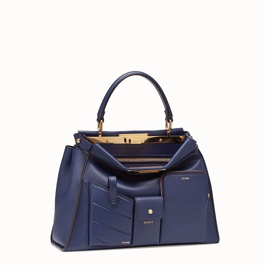 f0ac9c1bfe76 Fendi - Peekaboo Regular Pocket blue leather bag ( 5