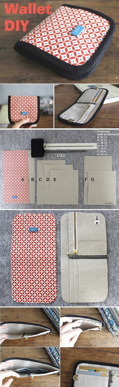 Simple Wallet Sewing Pattern. Step-by-Step DIY Tutorial with Photos ...