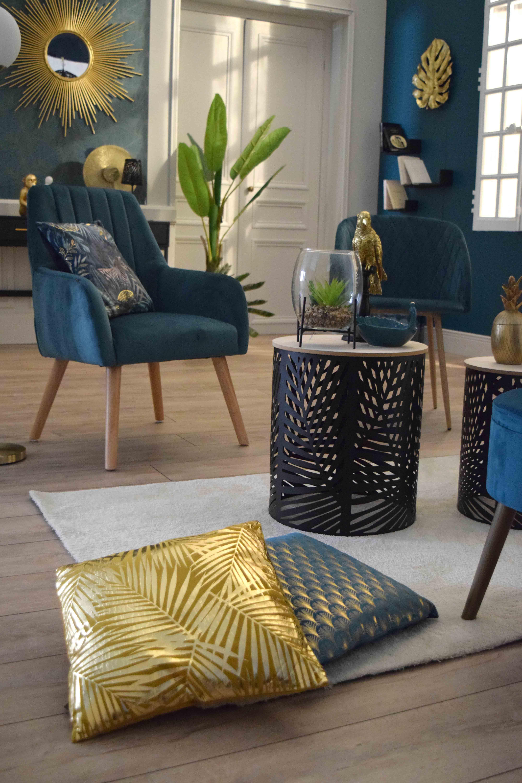 Coussin Jaune Ocre Tropical Imprime Dore Ubud 40x40 Cm Kalico Deco Tendances Deco Salon Decoration Canape Bleu