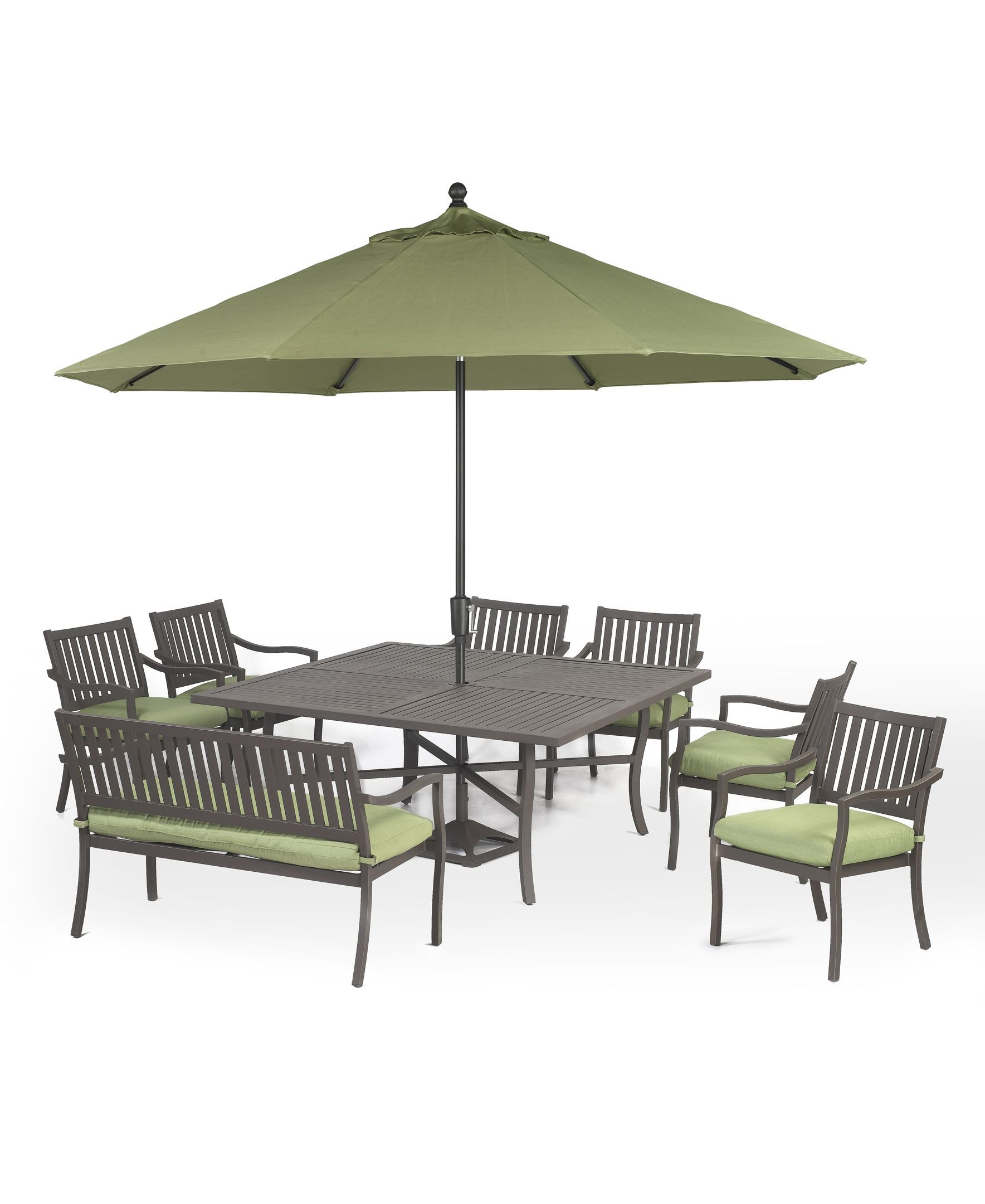 madison outdoor 8 piece set 64 square dining table 6 dining chairs and 1 bench patio outdoor furniture macys - Garden Furniture 6 Chairs