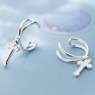 - ROCH 925 Sterling Silver Cross Dangle Earring 1 Pair - s925 Silver - Silver - One Size -