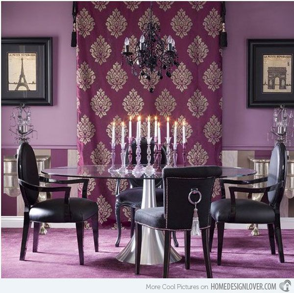 dramatic purple dining room designs in pastels | 15 Purple Dining Room Ideas | Bright dining rooms, Purple ...