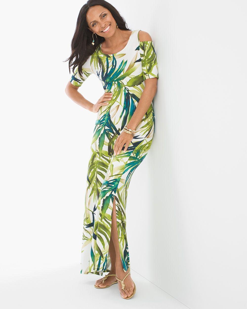 170e18be2ae Chico s Women s Tropical Cold-Shoulder Maxi Dress