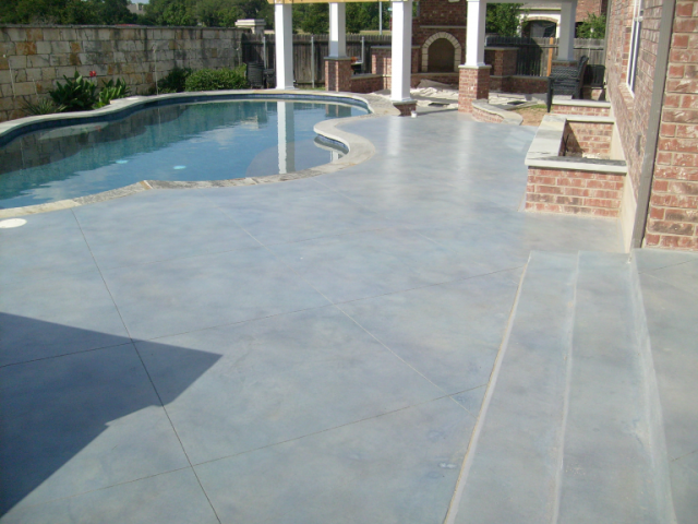 Blue Gray Concrete Pool Deck Backyard Pool Pool Remodel Pool