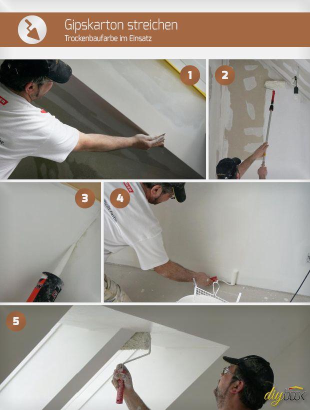 gipskarton streichen trockenbaufarbe im einsatz renovierung pinterest. Black Bedroom Furniture Sets. Home Design Ideas