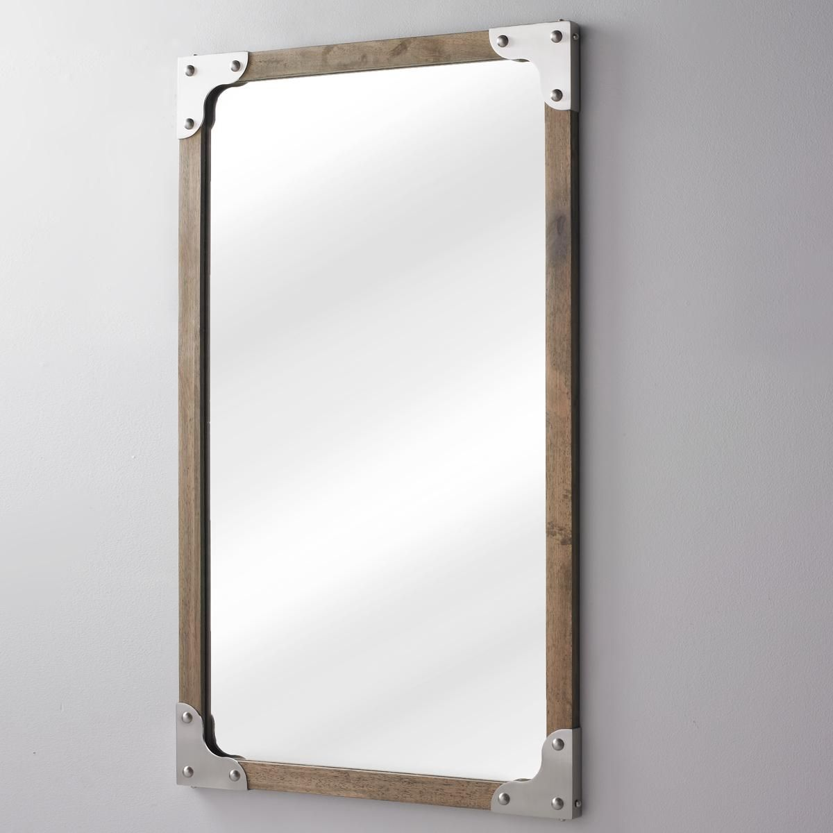 Rivet And Wood Industrial Style Mirror Weathered Woods Mirror