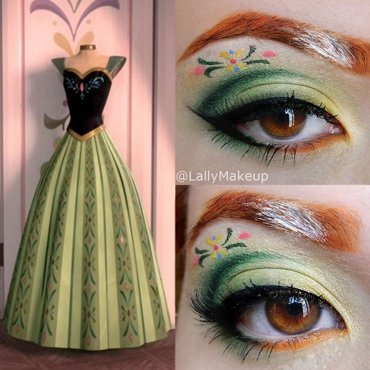 2014 Disney Frozen Anne flower eye makeup fro Halloween - Snow Princess, green #2014 #Halloween